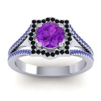 Ornate Halo Naksatra Amethyst Ring with Black Onyx and Blue Sapphire in 14k White Gold