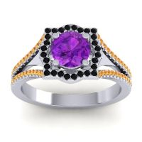 Ornate Halo Naksatra Amethyst Ring with Black Onyx and Citrine in 14k White Gold