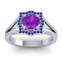 Ornate Halo Naksatra Amethyst Ring with Blue Sapphire and Aquamarine in Platinum