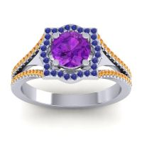 Ornate Halo Naksatra Amethyst Ring with Blue Sapphire and Citrine in 18k White Gold