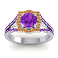 Ornate Halo Naksatra Amethyst Ring with Citrine in Platinum