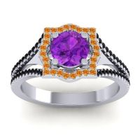 Ornate Halo Naksatra Amethyst Ring with Citrine and Black Onyx in 18k White Gold