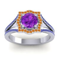 Ornate Halo Naksatra Amethyst Ring with Citrine and Blue Sapphire in Palladium