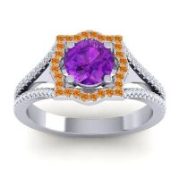 Ornate Halo Naksatra Amethyst Ring with Citrine and Diamond in 18k White Gold