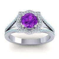 Ornate Halo Naksatra Amethyst Ring with Diamond and Aquamarine in Platinum