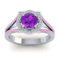 Ornate Halo Naksatra Amethyst Ring with Diamond and Pink Tourmaline in 18k White Gold