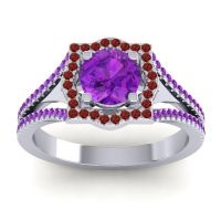 Ornate Halo Naksatra Amethyst Ring with Garnet in Platinum