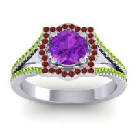 Ornate Halo Naksatra Amethyst Ring with Garnet and Peridot in 18k White Gold