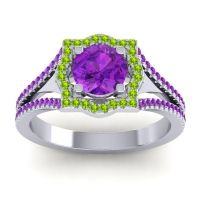 Ornate Halo Naksatra Amethyst Ring with Peridot in Platinum