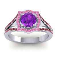 Ornate Halo Naksatra Amethyst Ring with Pink Tourmaline and Ruby in Palladium