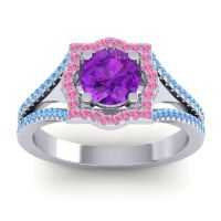 Ornate Halo Naksatra Amethyst Ring with Pink Tourmaline and Swiss Blue Topaz in Platinum