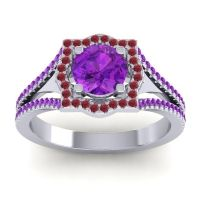 Ornate Halo Naksatra Amethyst Ring with Ruby in 14k White Gold