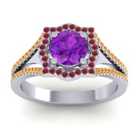 Ornate Halo Naksatra Amethyst Ring with Ruby and Citrine in Platinum