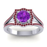 Ornate Halo Naksatra Amethyst Ring with Ruby in 18k White Gold