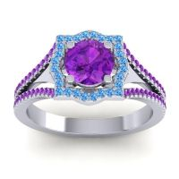 Ornate Halo Naksatra Amethyst Ring with Swiss Blue Topaz in Platinum