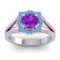 Ornate Halo Naksatra Amethyst Ring with Swiss Blue Topaz and Pink Tourmaline in Palladium