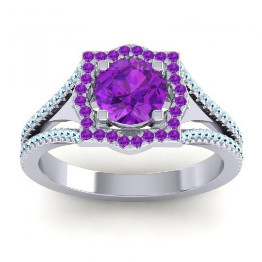 Ornate Halo Naksatra Amethyst Ring with Aquamarine in 14k White Gold