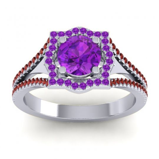 Ornate Halo Naksatra Amethyst Ring with Garnet in 18k White Gold