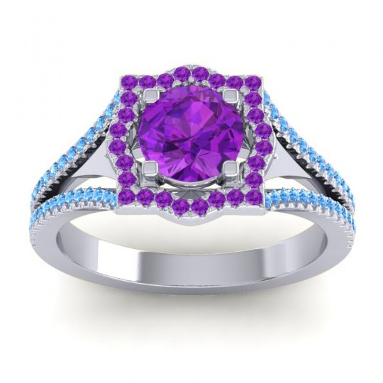Ornate Halo Naksatra Amethyst Ring with Swiss Blue Topaz in Palladium