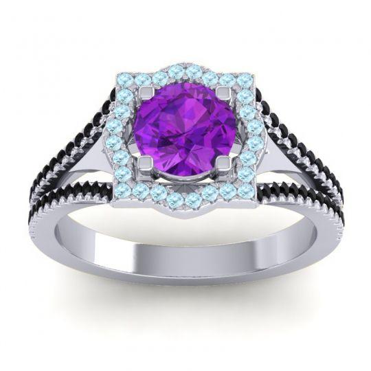 Ornate Halo Naksatra Amethyst Ring with Aquamarine and Black Onyx in Platinum