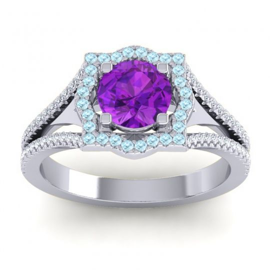 Ornate Halo Naksatra Amethyst Ring with Aquamarine and Diamond in 14k White Gold