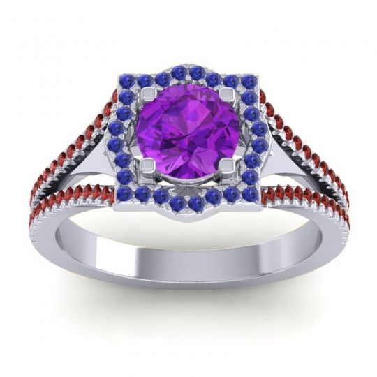 Ornate Halo Naksatra Amethyst Ring with Blue Sapphire and Garnet in Palladium