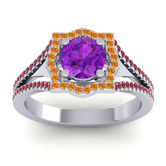 Ornate Halo Naksatra Amethyst Ring with Citrine and Ruby in 14k White Gold