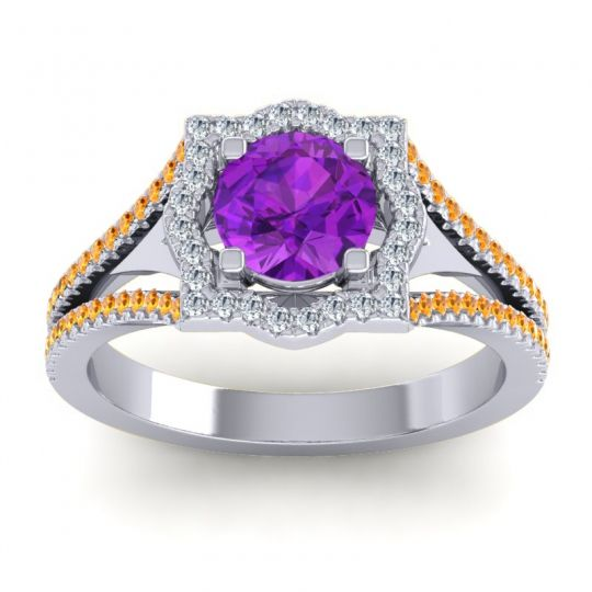 Ornate Halo Naksatra Amethyst Ring with Diamond and Citrine in Palladium