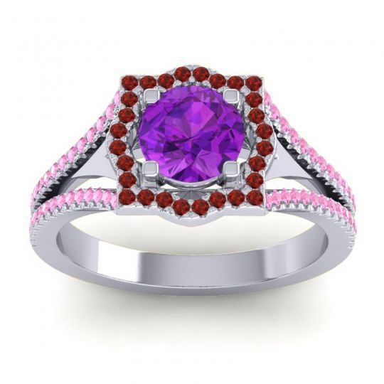 Ornate Halo Naksatra Amethyst Ring with Garnet and Pink Tourmaline in 18k White Gold