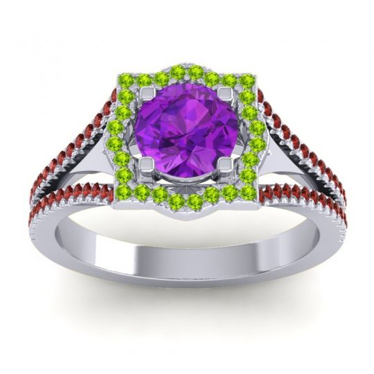 Ornate Halo Naksatra Amethyst Ring with Peridot and Garnet in 14k White Gold