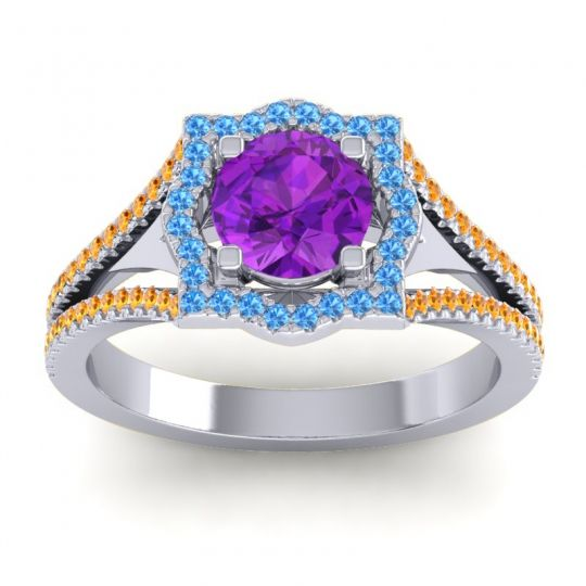 Ornate Halo Naksatra Amethyst Ring with Swiss Blue Topaz and Citrine in 18k White Gold