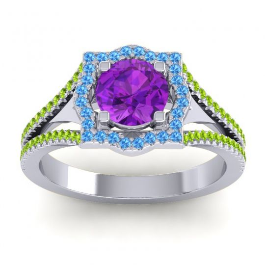 Ornate Halo Naksatra Amethyst Ring with Swiss Blue Topaz and Peridot in 14k White Gold