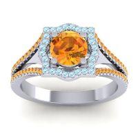 Ornate Halo Naksatra Citrine Ring with Aquamarine in 18k White Gold