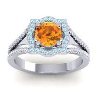 Ornate Halo Naksatra Citrine Ring with Aquamarine and Diamond in 14k White Gold