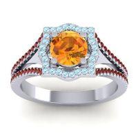 Ornate Halo Naksatra Citrine Ring with Aquamarine and Garnet in 14k White Gold