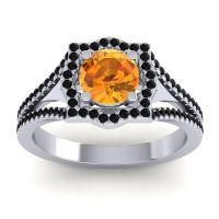 Ornate Halo Naksatra Citrine Ring with Black Onyx in Platinum