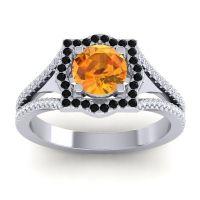 Ornate Halo Naksatra Citrine Ring with Black Onyx and Diamond in Palladium