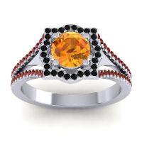 Ornate Halo Naksatra Citrine Ring with Black Onyx and Garnet in Palladium