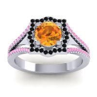 Ornate Halo Naksatra Citrine Ring with Black Onyx and Pink Tourmaline in Palladium