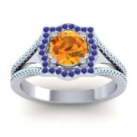 Ornate Halo Naksatra Citrine Ring with Blue Sapphire and Aquamarine in Platinum