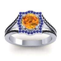 Ornate Halo Naksatra Citrine Ring with Blue Sapphire and Black Onyx in 14k White Gold