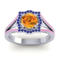 Ornate Halo Naksatra Citrine Ring with Blue Sapphire and Pink Tourmaline in Platinum
