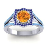 Ornate Halo Naksatra Citrine Ring with Blue Sapphire and Swiss Blue Topaz in 14k White Gold