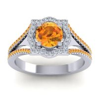 Ornate Halo Naksatra Citrine Ring with Diamond in 14k White Gold