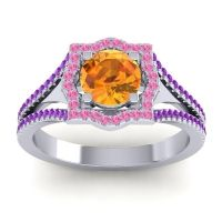 Ornate Halo Naksatra Citrine Ring with Pink Tourmaline and Amethyst in 18k White Gold