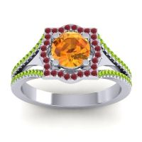 Ornate Halo Naksatra Citrine Ring with Ruby and Peridot in Platinum