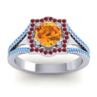 Ornate Halo Naksatra Citrine Ring with Ruby and Swiss Blue Topaz in Palladium