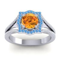 Ornate Halo Naksatra Citrine Ring with Swiss Blue Topaz and Diamond in 18k White Gold