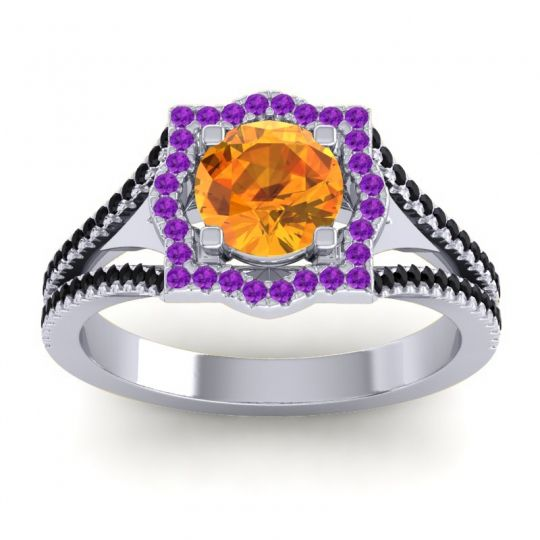 Ornate Halo Naksatra Citrine Ring with Amethyst and Black Onyx in Platinum