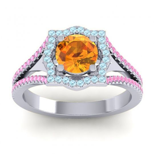 Ornate Halo Naksatra Citrine Ring with Aquamarine and Pink Tourmaline in Palladium